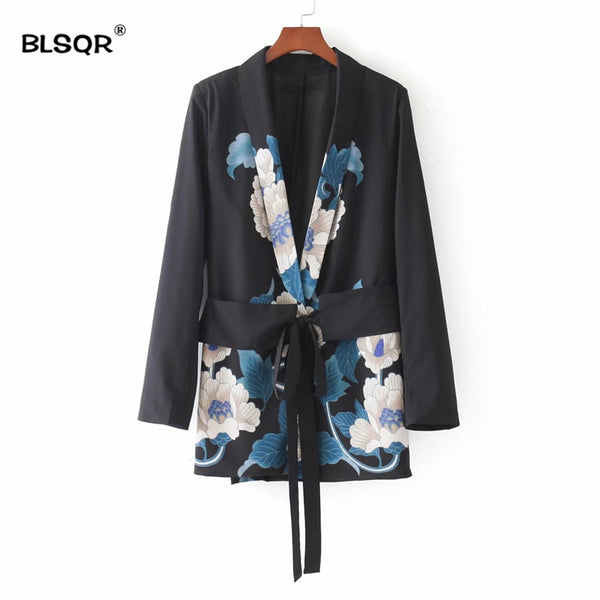 Women Sashes Floral Blazer Notched Collar Long Sleeve Coat Vintage Ladies 2018Casual Brand Outerwear Casaco Tops