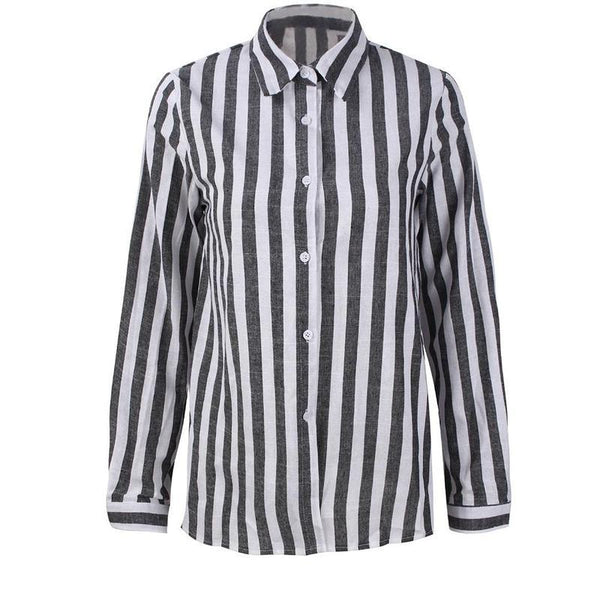 Women Striped Shirt Casual Long Sleeve Turn Down Collar Striped Blouse Summer Loose Shirt Tops Camisa Feminina