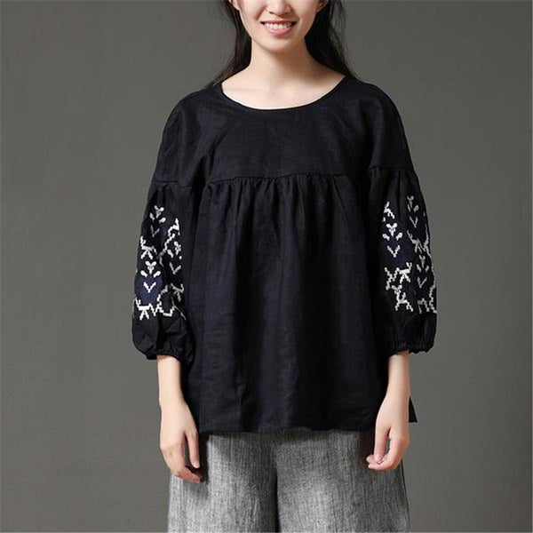 2020 Summer Women Solid Long Lacing Embroidery Shirt Round Neck Three Quarter Sleeve Casual Loose Black Blouse &Top