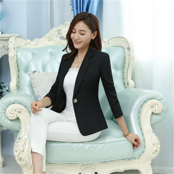 Basic Coats Plus Size 5XL Elegant Business Lady Jacket New 2018 Autumn Women Full Sleeve Work Blazer Female Casual Coat ZY4164