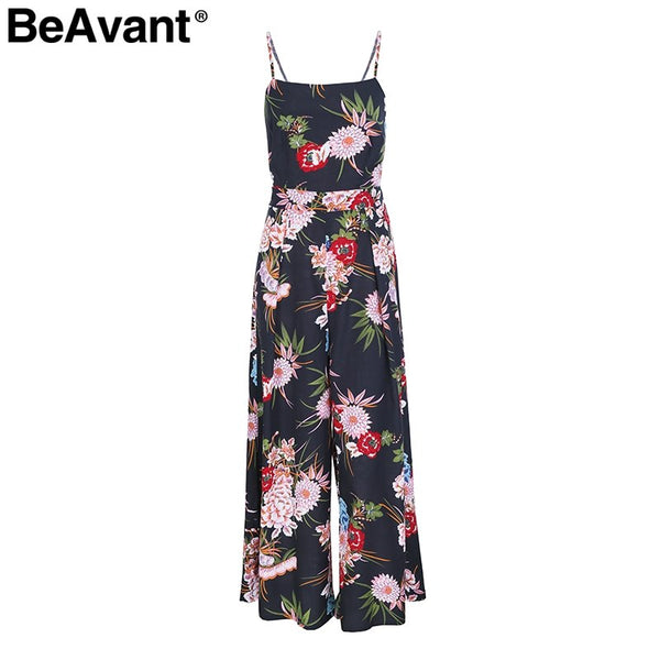 BeAvant Sexy back bow strap women jumpsuit Summer floral print boho beach jumpsuits 2018 Backless flare leg jumpsuits rompers