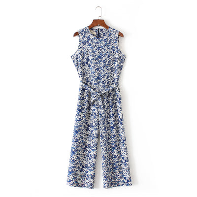 spring summer new jumpsuit women's bird print O-neck sleeveless belt sashes ankle-length jumpsuits blue