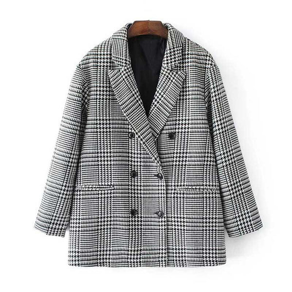 Spring Plaid Check Houndstooth Women Casual Outwear  Double Breasted  workwear Blazer female  Coat