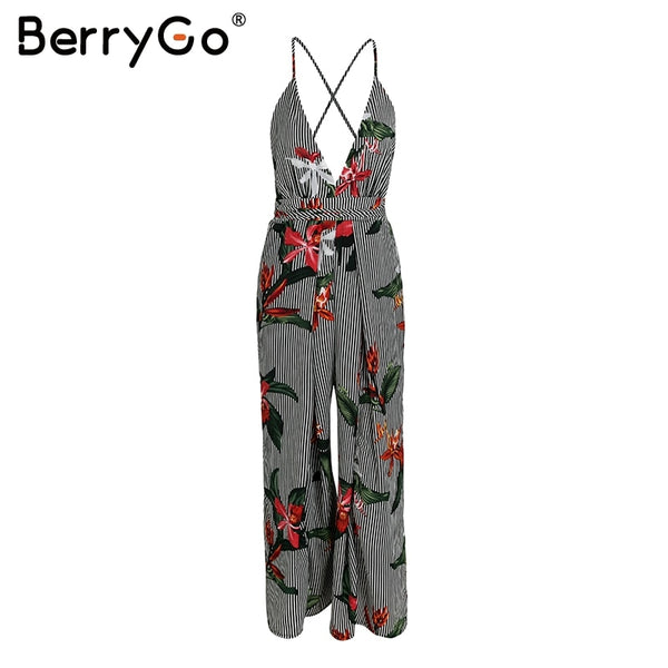 Stripe v neck strap sexy jumpsuit romper Women print boho beach jumpsuit summer Vintage loose playsuit overalls 2018 new