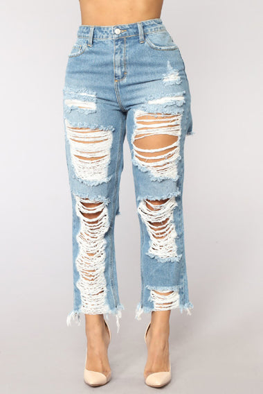 Big Hole Ripped Jeans Women Harem Pants Loose Ankle-Length Denim Pants Boyfriends For Woman Exaggerated Beggar Trousers Ladies