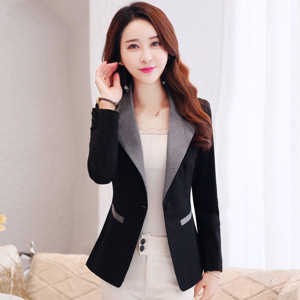 Black Blazer Women Casual Wear Jacket Blazer Feminino Long Sleeve Elegant Short Coat Blaser Feminine Ladies Vogue Tops 3XL C3179