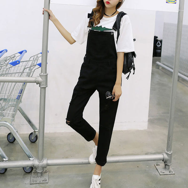 Black Denim Overalls High Waist Women Suspender Trousers Frayed Summer 2020 Causal Playsuit For Women Long Romper Jumpsuits