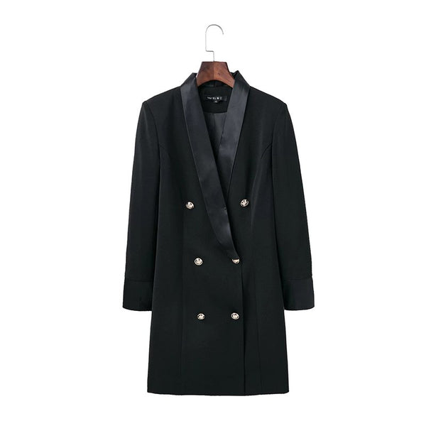 Black Sexy V-neck Blazer Feminino Long Women Blazers Office Lady Style Double Breasted Long Sleeve Lady Suit Spring Coat&Jacket
