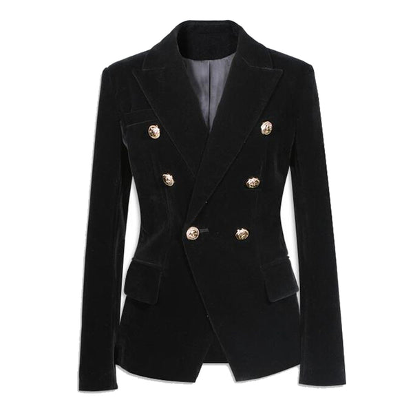 Black Velvet Blazer Women Slim Double Breasted Button Pockets Long Sleeve Ladies Suit Coat Jacket Style Fashion Blazers