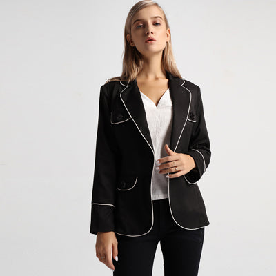 Black & White Elegant Women's Blazer Coat Single Button Long Sleeve Office Lady Slim Jacket Female Causal Blazer Suit Workwear