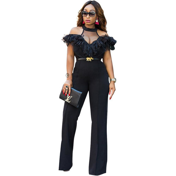 Black Wide Leg Jumpsuits Halter Off Shoulder Elegant Lace Ruffles Jumpsuit Backless Hollow Out Sexy Rompers Womens Overalls
