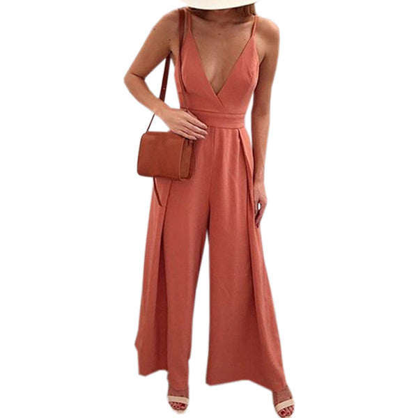 Blackless Deep V-Neck Spaghetti Strap Jumpsuits Summer Women Sexy Bow Bodysuit Hollow Out Wide Leg Pants 2018 Plus Size GV282