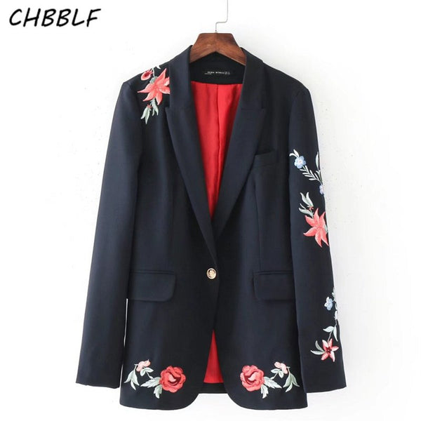Blaser Feminino New Fashion Women Slim Blazer Coat Rose Embroidered Suit Jacket One Button Suit  Outerwear BGB7213