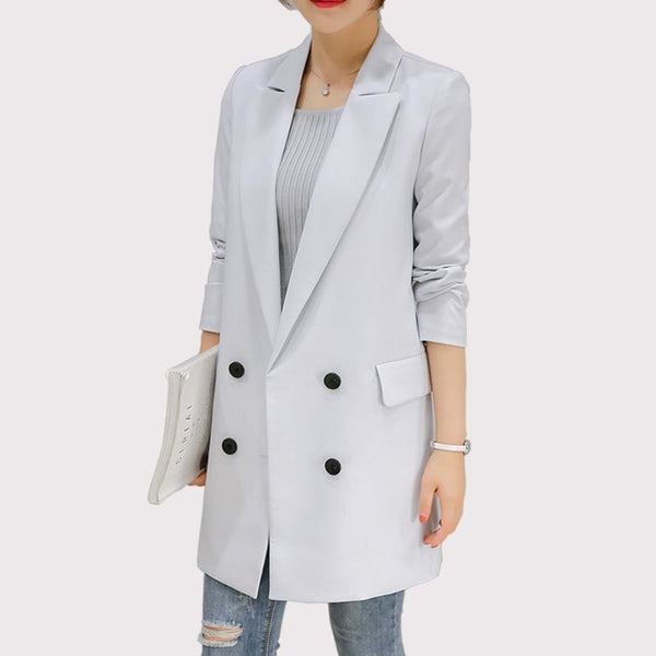 Blazer Feminino Long Women Blazers And Jackets Office Lady Style Double Breasted Long Sleeves Lady Suit