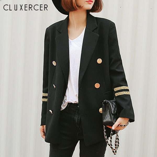 Blazer Feminino Long Women Blazers And Jackets military style Double Breasted Long Sleeves Lady Suit