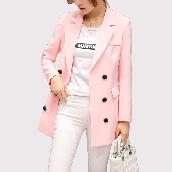Blazer Feminino Women Blazers And Jackets Casual Women Long Sleeve Double Breasted Outwear Blazers Coat Plus Size