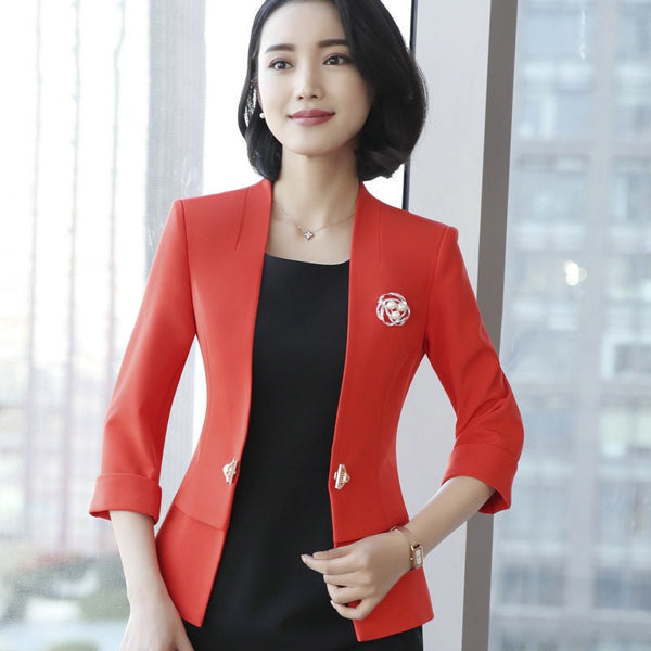 Blazers And Jackets Women New Three Sleeve V-neck Formal Office Elegant Coat Women's Jacket Femme BlaSer Feminino