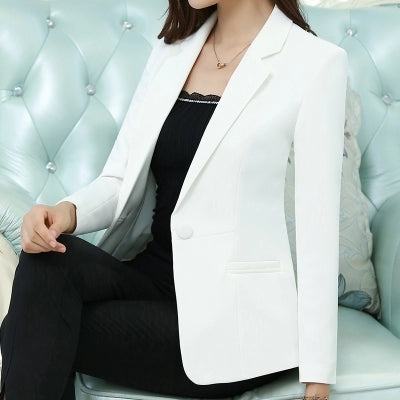 Blazers  New Fashion Single Button Blazer Women Suit Jacket Green White Black Pink Blue Blaser Female Blazer Femme