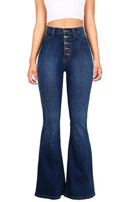 Blue Flare Skinny Denim Jeans Women High Waist Buttons Plus Size Pants Trousers Full Length Butt Lifting Casual Fashion Jeans