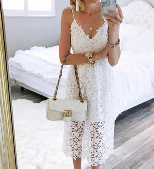 26837d3d25 Bohemiah Lace Dress Summer Women Elegant Fit and Flare White Party Beach  Dresses Long Spaghetti Dress ...