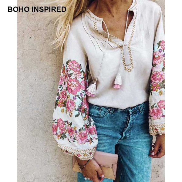 Inspird floral Embroidered Blouse Long lantern Sleeve V-neck tassles women's shirts chic ukraine blouses tops blusas