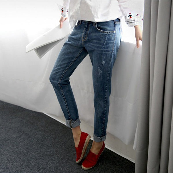 Boyfriend Jeans For Women 2020 Spring Basic Styles Vintage Distressed Regular Ripped Stretch Harem Denim Pants Woman Jeans F0