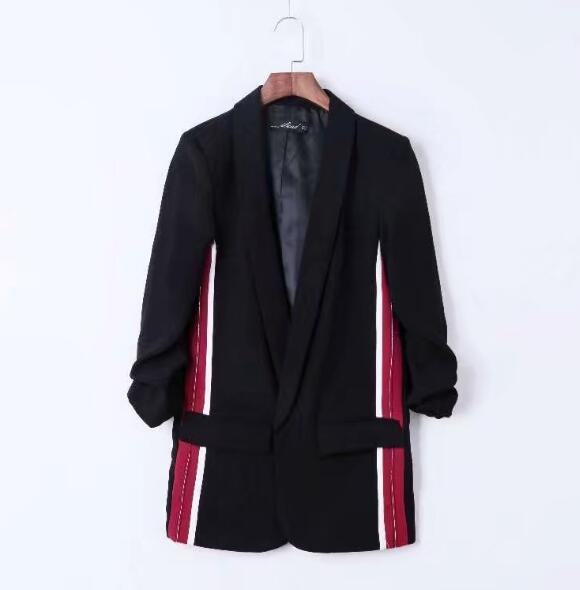 Boyfriend Notched Collar Spliced Striped Mid Long Blazer 2020 Autumn Woman Ruched Cuff Casual Suit Jacket Coat Outerwear Black