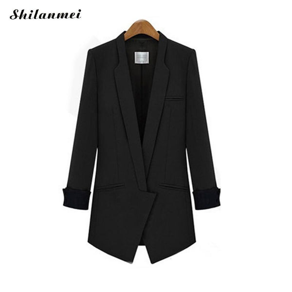 Business Womens Office Suits Long Jacket Blazer Feminino 2020 Womens Blazers Patchwork Long Sleeve Black Camel Blazer Female top