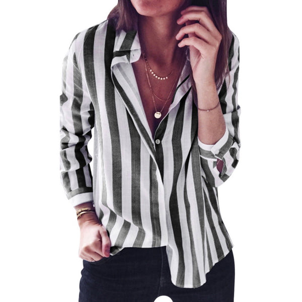2020 New Spring Autumn Women Blouse Flower V-Neck Long Sleeve Work Shirts Women office Tops Striped blouse for business
