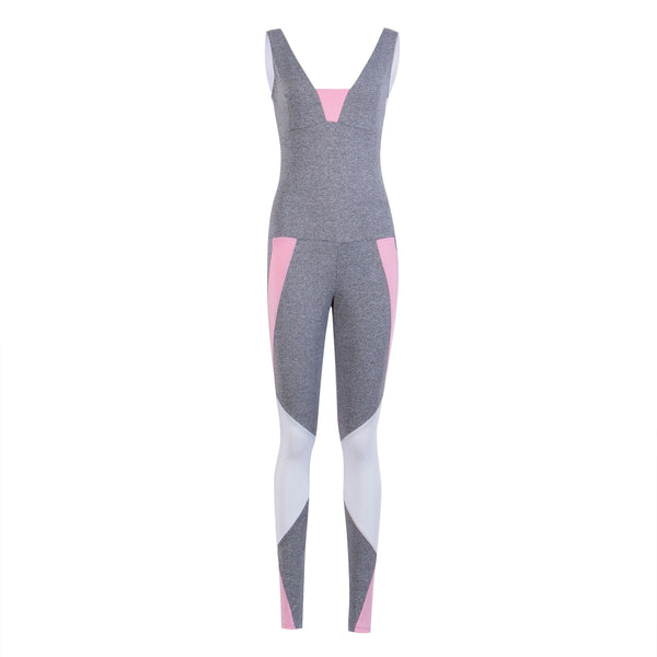 Fashion Skinny Cotton Litter Sexy Women Workout Jumpsuit Tracksuit Fitness Top & Pants Bodysuits Set