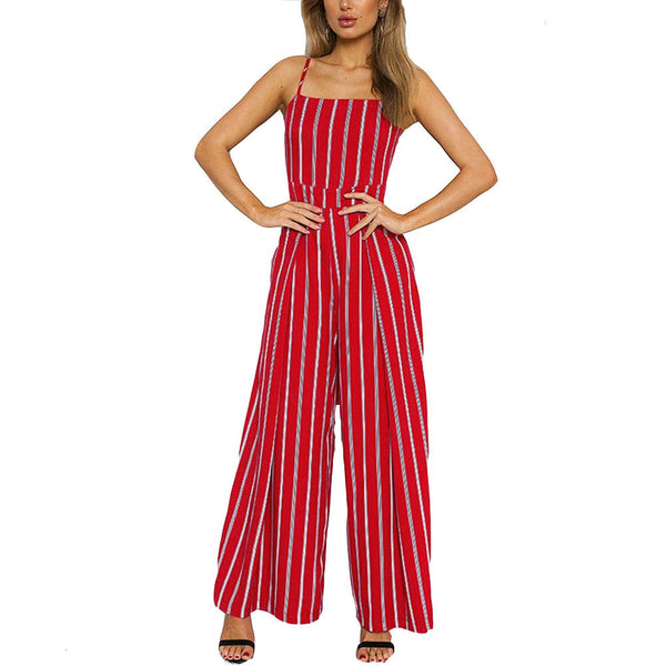 Summer Beach Rompers Womens Jumpsuit Casual Sleeveless Striped Jumpsuit Clubwear Wide Leg Pants Outfit