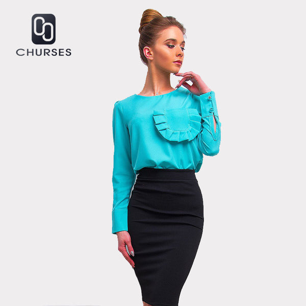 Robe Ruffle Pocket Blouse Spring Long Sleeve Shirt Women O-Neck Casual Fitness Shirt Women 2020 Autumn Tops And Blouses