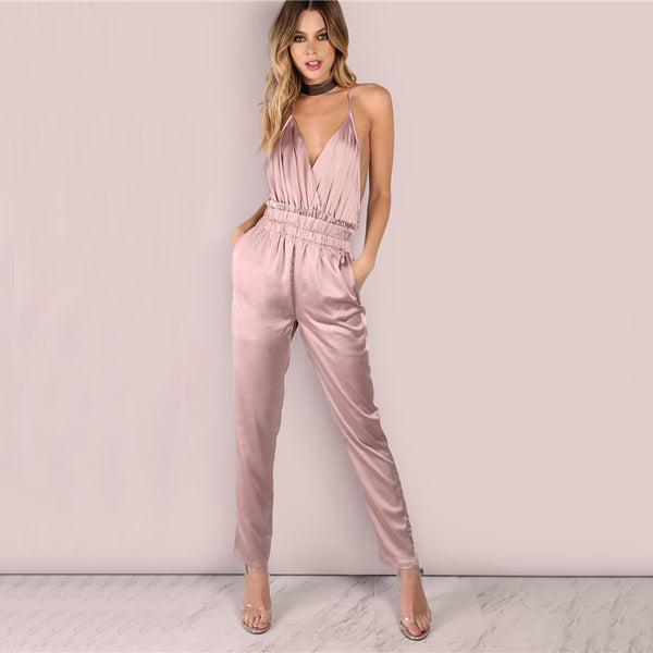 Dusty Pink Satin Slip Jumpsuit Sexy Cross Low Back Women Summer Jumpsuits 2020 New Ruffle Strap Casual Elegant Jumpsuit