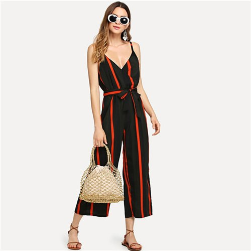 Tie Waist Striped Summer Jumpsuit 2020 New Multicolor Casual Knot Women Jumpsuit V Neck Sleeveless Wrap Beach Jumpsuit