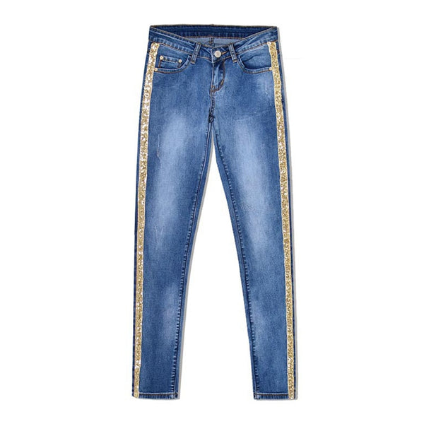 Bling Gold Side Stripe Plus size Feamle Pencil Jeans Woman Full Length denim Jeans Blue Low Waist Pants Skinny Trousers