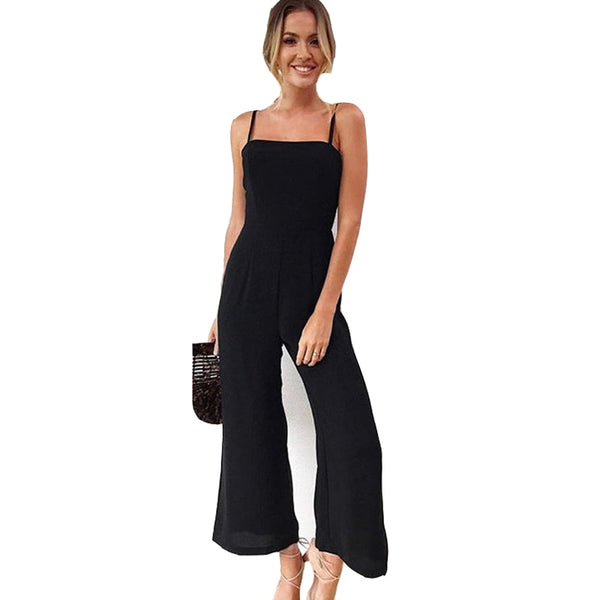 Green Black Women Sleeveless Summer Playsuit Sexy Solid Boot Cut Female jumpsuit rompers womens jumpsuit QL3594