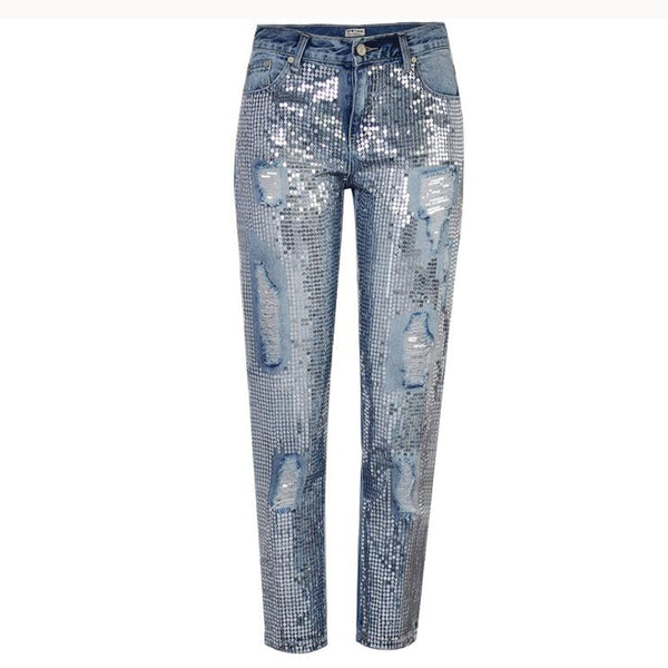 Plus size Bling Sequin Low Waist Jeans for women Denim overalls Straight Pants boyfriend Trousers for feminino QL3541