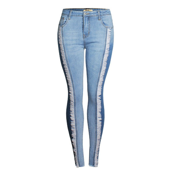 S-4XL Plus size Jeans FemaleTassel Pencil Patchwork Jeans for Lady Mid Waist Pants Skinnty denim overall for women QL3591