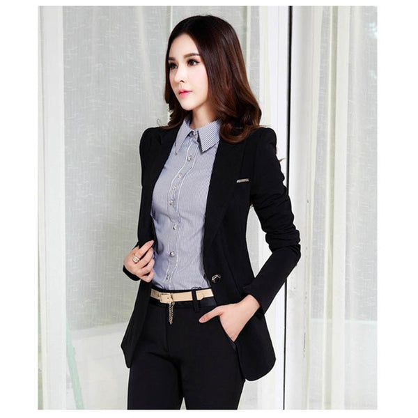 Career Women Blazers And Jackets Spring Autumn Fashion Long Sleeve Blaser Coat Female Green Black Ladies Blazer Mujer C02