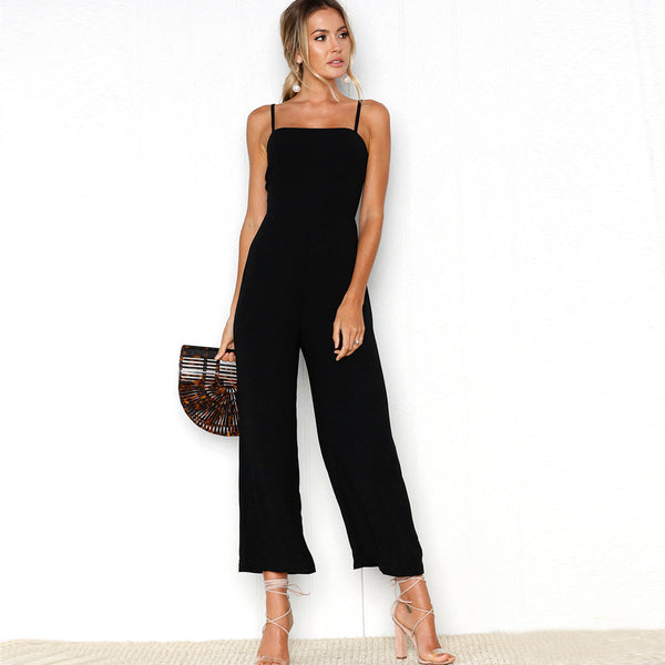 Casual Jumpsuit Women Spaghetti Strap Overalls Sleeveless Elegant Straight Jumpsuits Long Pants 2020 Summer Fashion Suit
