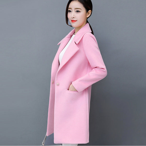 Casual Pink Tweed Blazer Jackets Long Big Size Korea Style Tunic Blazers Terno Feminino Cardigan Suit Business Clothes KC6C092