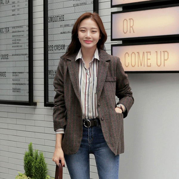 Casual Striped Notched Collar Ladies Blazers Single Breasted Long Sleeve Women Blazer Jackets  Outfits  blazer feminino 2020