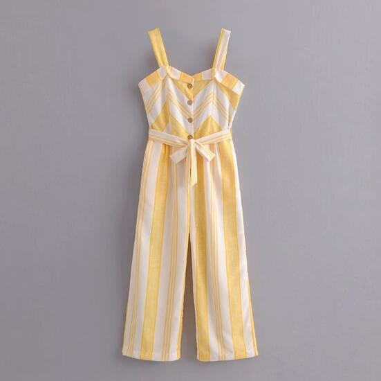 Causal Yellow White Striped Spaghetti Strap Jumpsuit Belt Summer Women With Sashes Full Length Pants Loose Romper Overalls