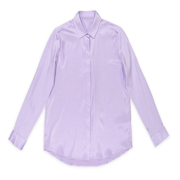 Silk blouse shirt women Stand long sleeve button up womens tops and blouses purple chemisier femme