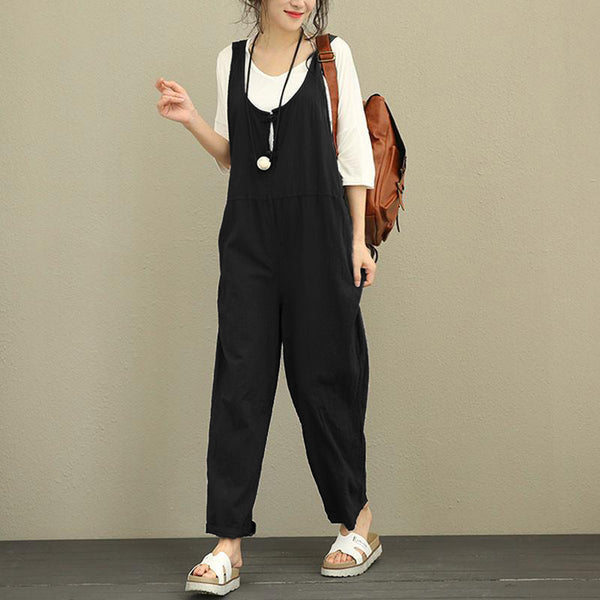 Women Jumpsuit 2020 Summer Autumn Cotton Linen Romper Casual Sleeveless Solid Loose Trousers Long Pants Overall S-2XL