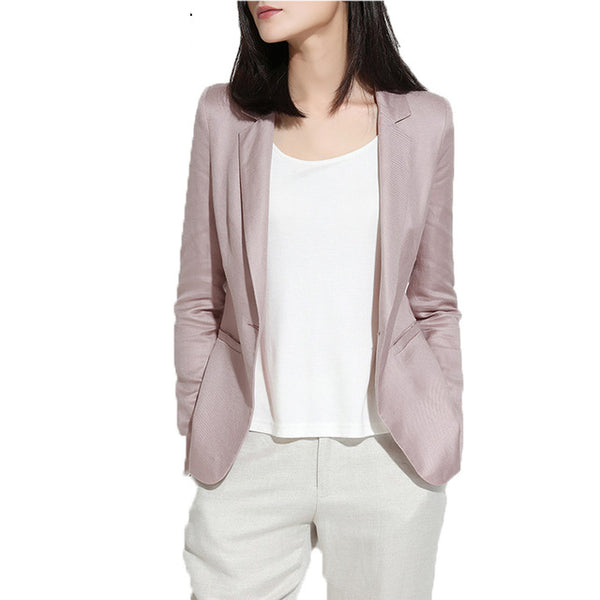 Chaquetas Primavera Mujer 2020 Slim Fit Blazer Coat Long Sleeve One Button Suit Lady Linen Blazers Work Wear High Quality LX43