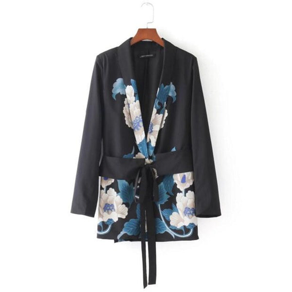 Chic Big Flower print Sashes Waist Black Blazer New Woman Shawl Collar Slim fit Mid long Suit Jacket Coat Outerwear With Belt