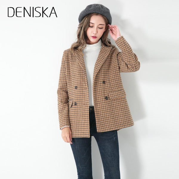 Double Breasted Boyfriend Khaki Plaid Blazer Women Notch Lapel Casual Blazer 2018 Work Wear Blazer For Ladies