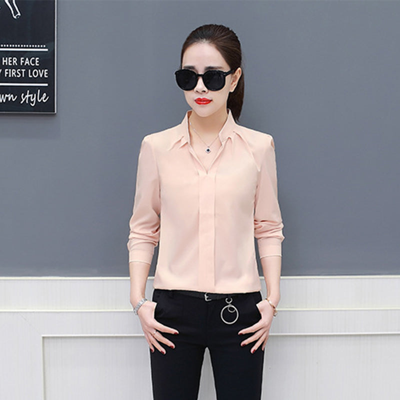 b4f43ddb6af 2018 Spring Summer Women Shirt Korean Long Sleeve Fashion Casual Womens Tops  And Blouses Chiffon Loose ...