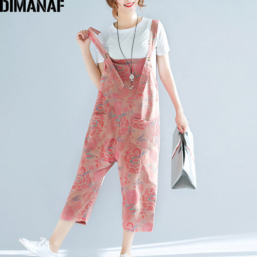 Women Plus Size Jumpsuits Harem Pants Loose 2020 Spring Summer Oversized Casual Female Print Floral Pink Girls Trousers